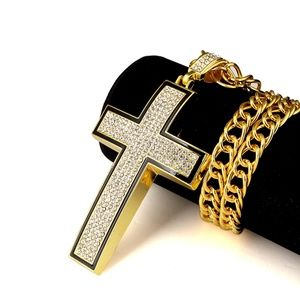 Other - Cross Iced Out Hip Hop Bling Jewelry w/ Rolo Chain